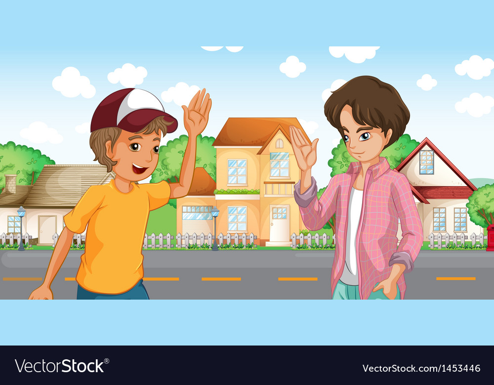 Two boys meeting across the big houses at the road vector   Price: 1 Credit (USD $1)