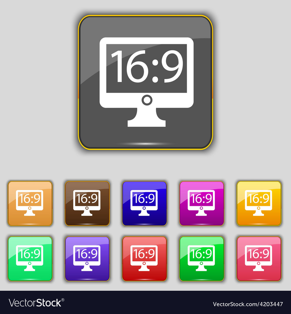 Aspect ratio 16 9 widescreen tv icon sign set with vector | Price: 1 Credit (USD $1)