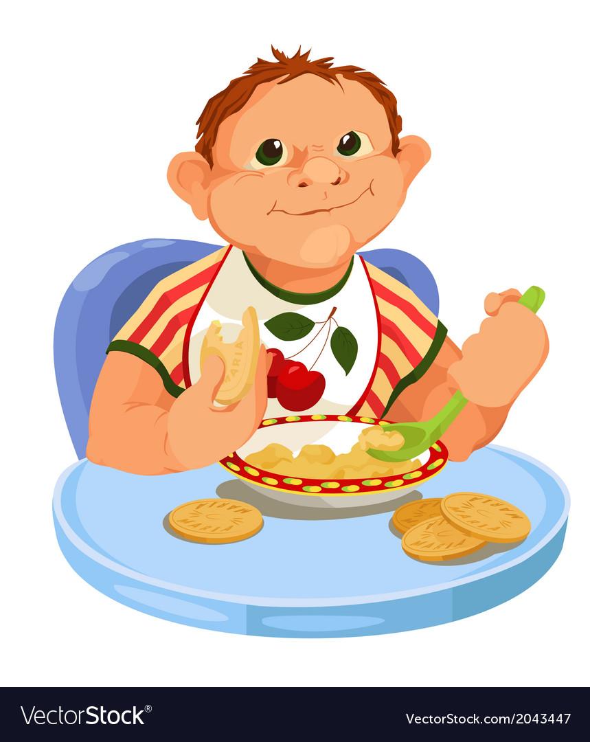 Baby eating porridge vector | Price: 1 Credit (USD $1)
