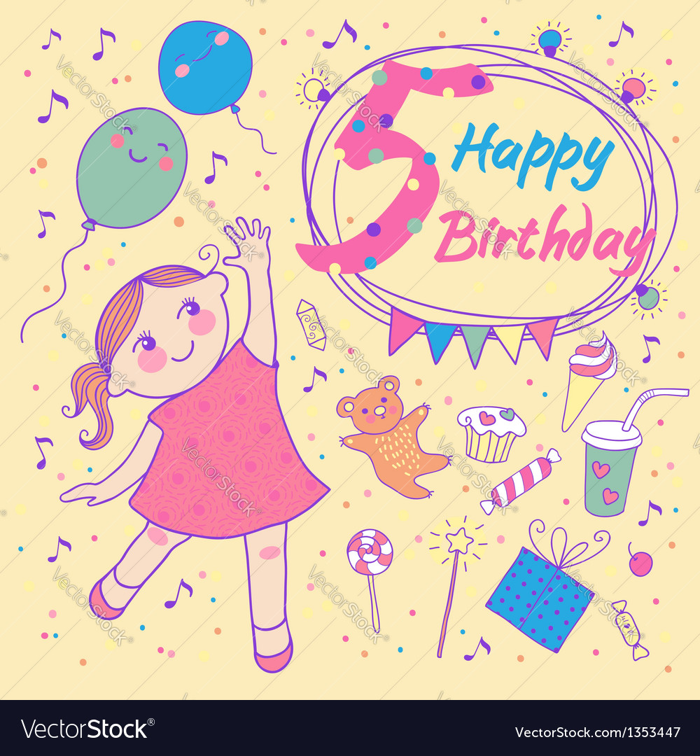 Birthday of the little girl 5 years vector | Price: 3 Credit (USD $3)