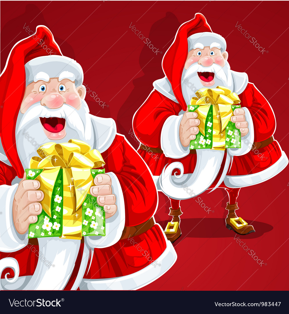 Cute santa claus give a gift on red background vector | Price: 3 Credit (USD $3)