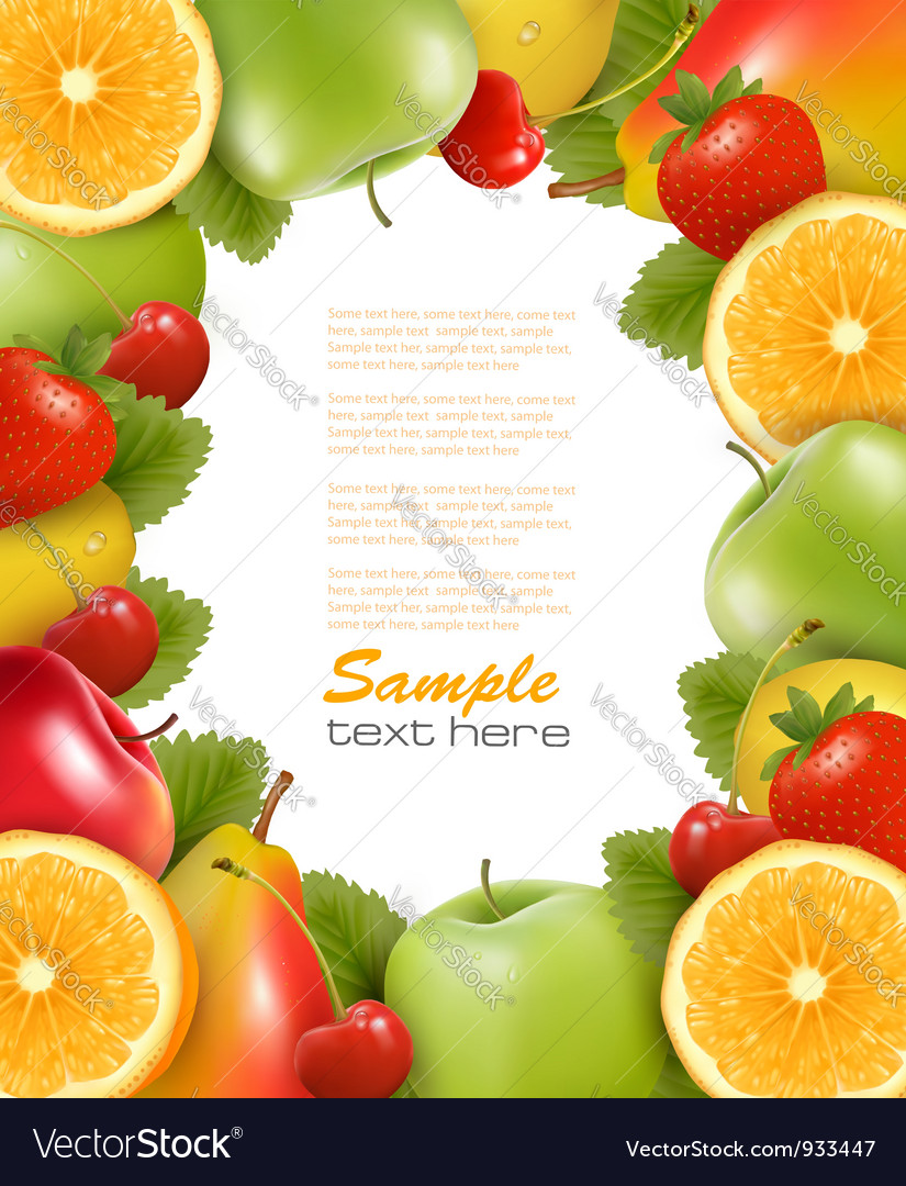 Frame made of fresh juicy fruit vector | Price: 3 Credit (USD $3)