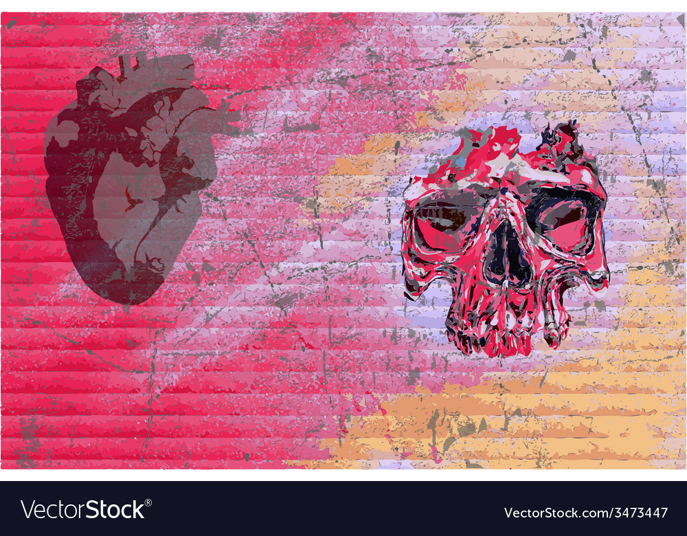 Graffiti skull and heart vector | Price: 1 Credit (USD $1)