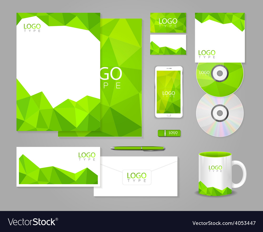 Green corporate identity template with polygons vector   Price: 1 Credit (USD $1)