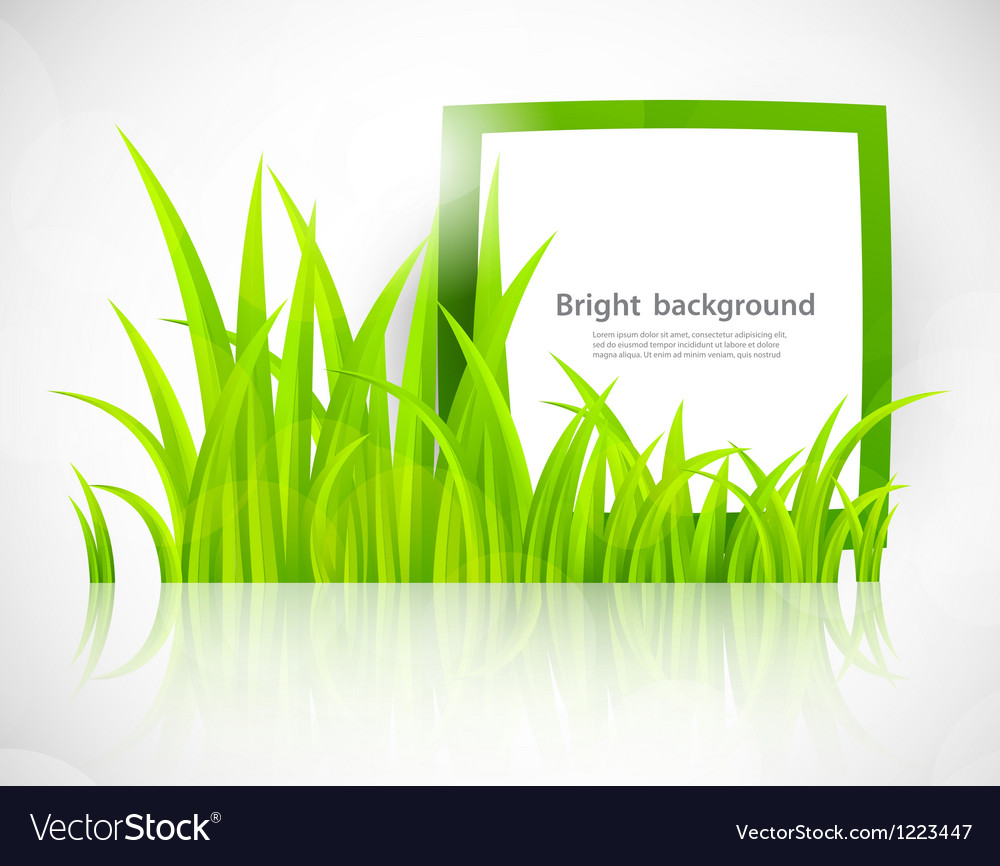 Green frame in grass vector | Price: 1 Credit (USD $1)