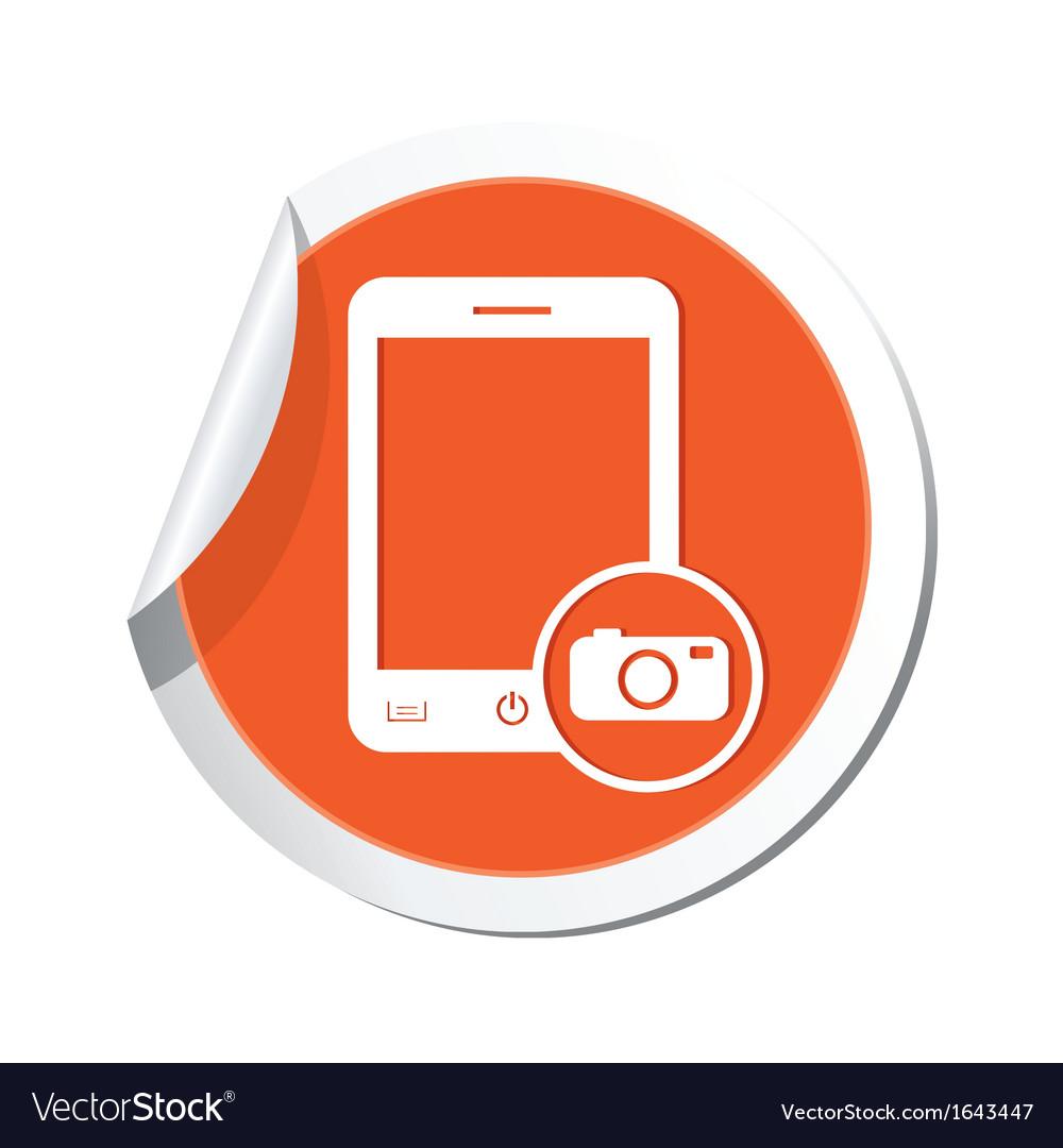 Phone camera icon orange sticker vector | Price: 1 Credit (USD $1)