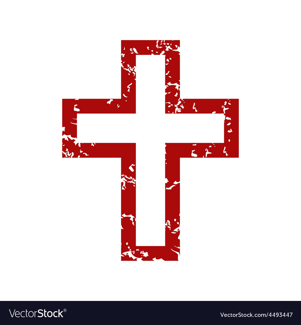 Red grunge christianity logo vector | Price: 1 Credit (USD $1)