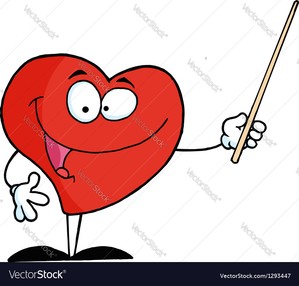 Red heart character holding a pointer vector | Price: 1 Credit (USD $1)