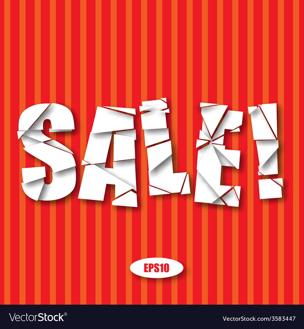 Sale cut paper poster on red stripes background vector | Price: 1 Credit (USD $1)