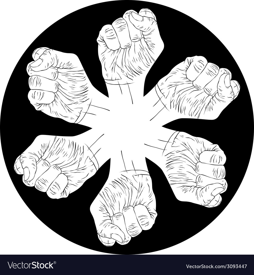 Six fists abstract symbol black and white special vector | Price: 1 Credit (USD $1)