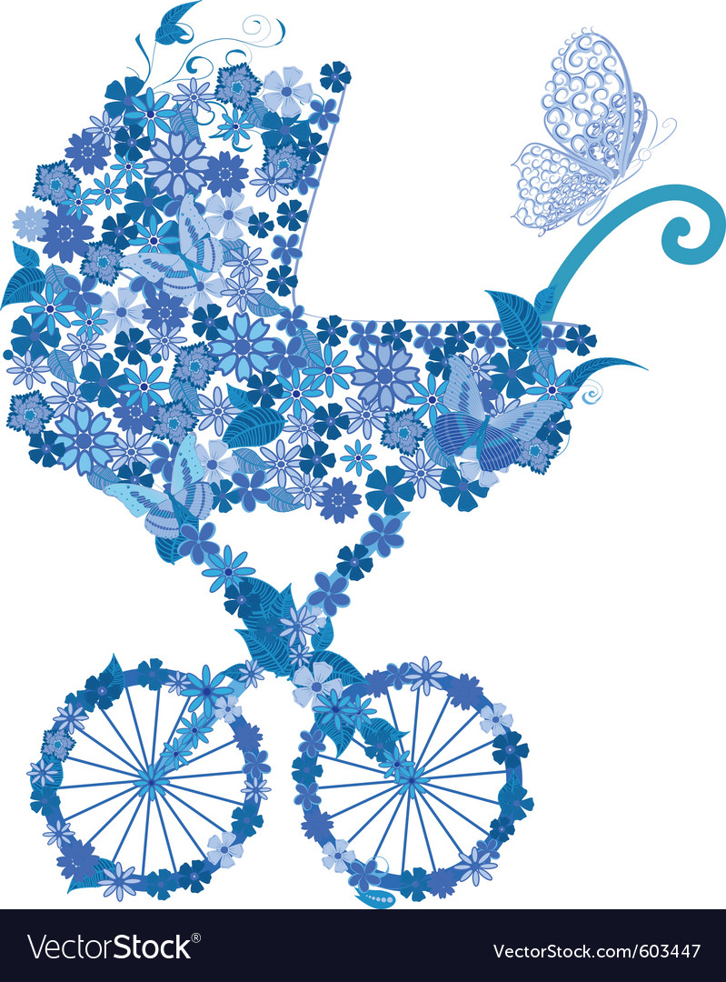 Stroller of flowers for a boy vector | Price: 1 Credit (USD $1)