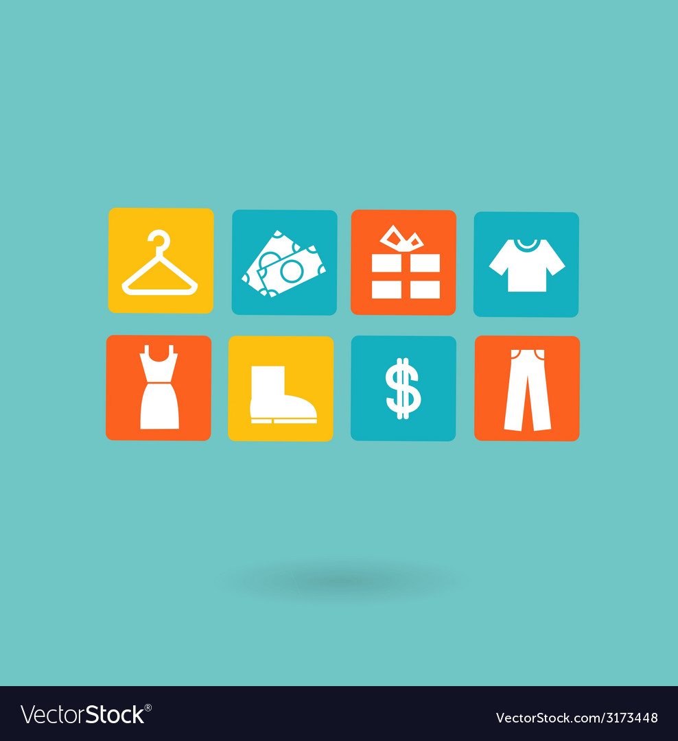 16 icons set shopping euro vector | Price: 1 Credit (USD $1)