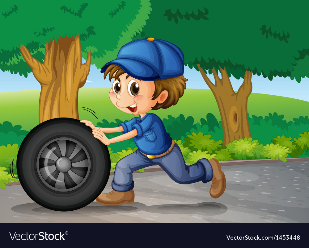 A boy wearing a cap pushing a wheel vector | Price: 1 Credit (USD $1)
