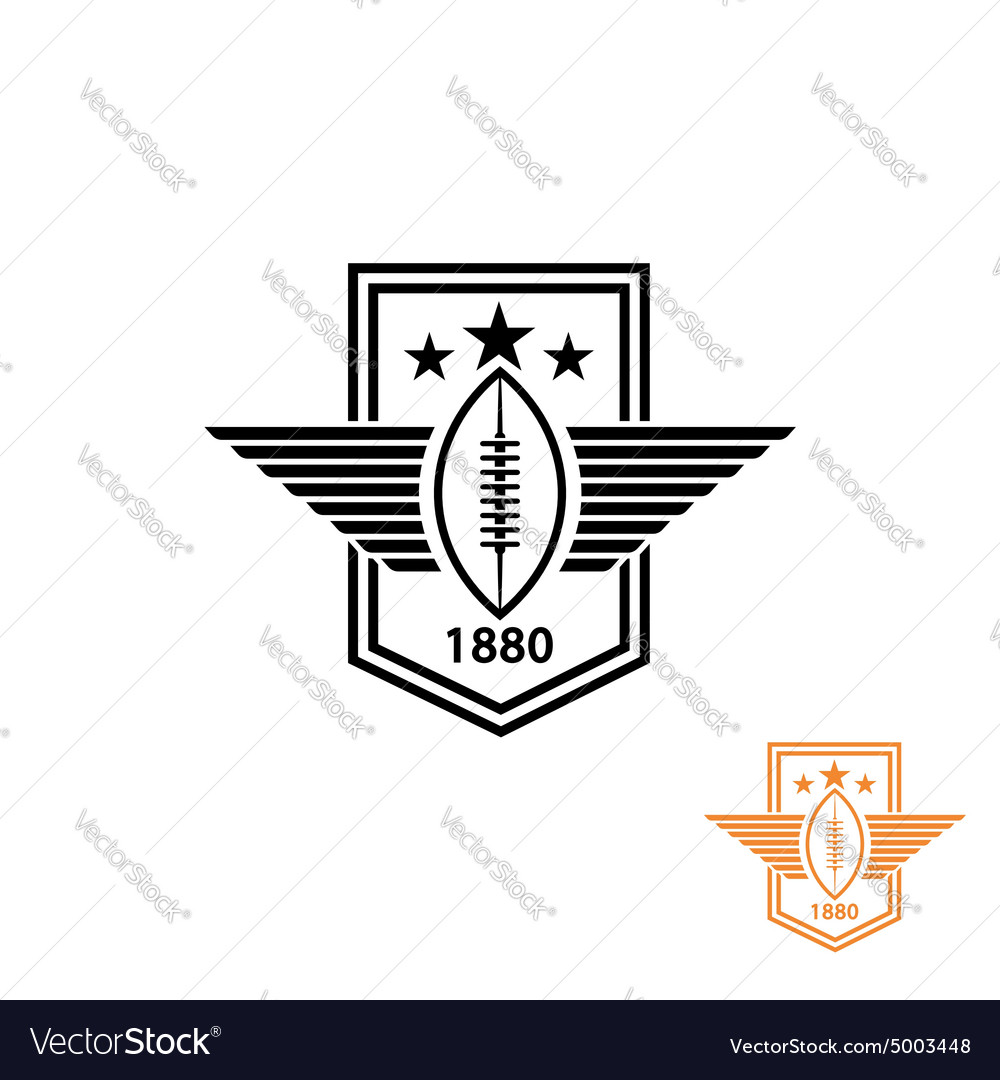 American football or rugby ball with wings and vector