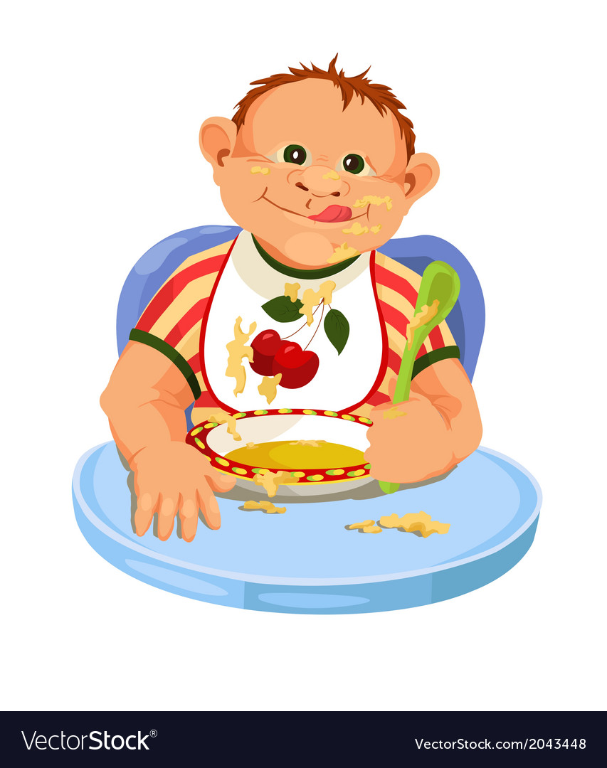 Child eating breakfast vector | Price: 1 Credit (USD $1)