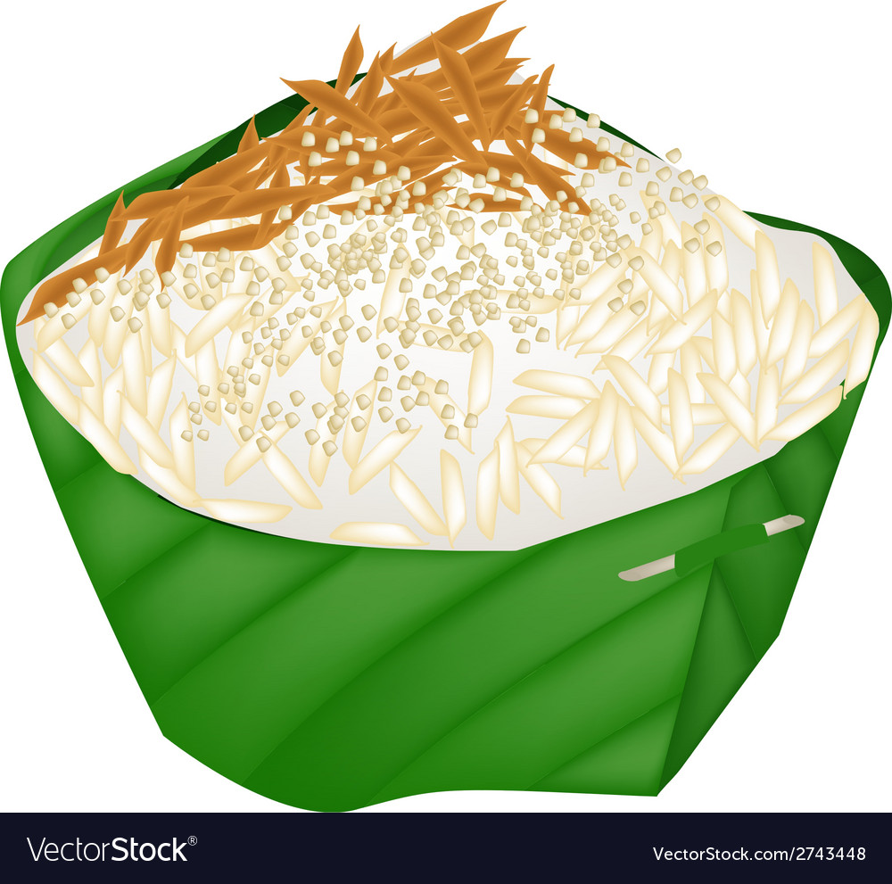 Sticky rice with dried fish and fried onion vector | Price: 1 Credit (USD $1)