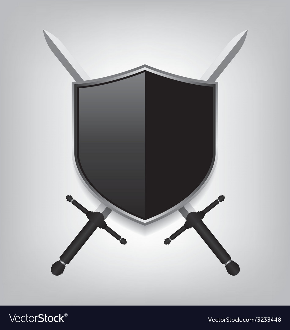 Swords and black shield vector | Price: 1 Credit (USD $1)