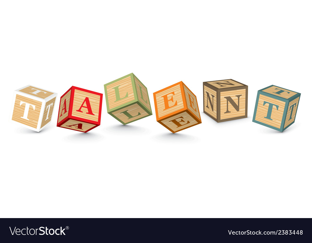 Word talent written with alphabet blocks vector | Price: 1 Credit (USD $1)