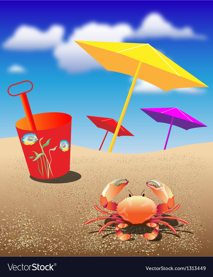 Crab at the beach vector | Price: 1 Credit (USD $1)