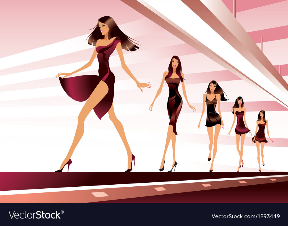 Fashion models on runway vector | Price: 3 Credit (USD $3)