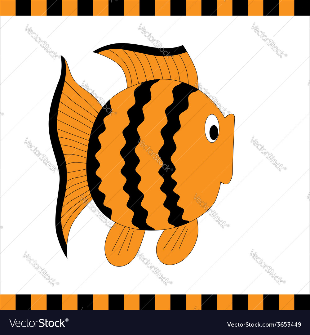 Funny orange fish with black stripes vector | Price: 1 Credit (USD $1)