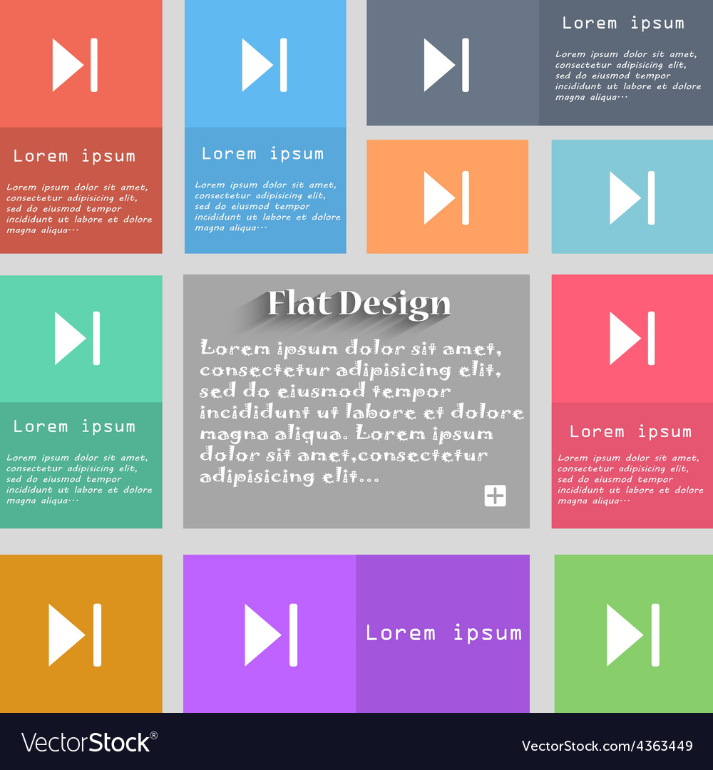 Next track icon sign set of multicolored buttons vector | Price: 1 Credit (USD $1)