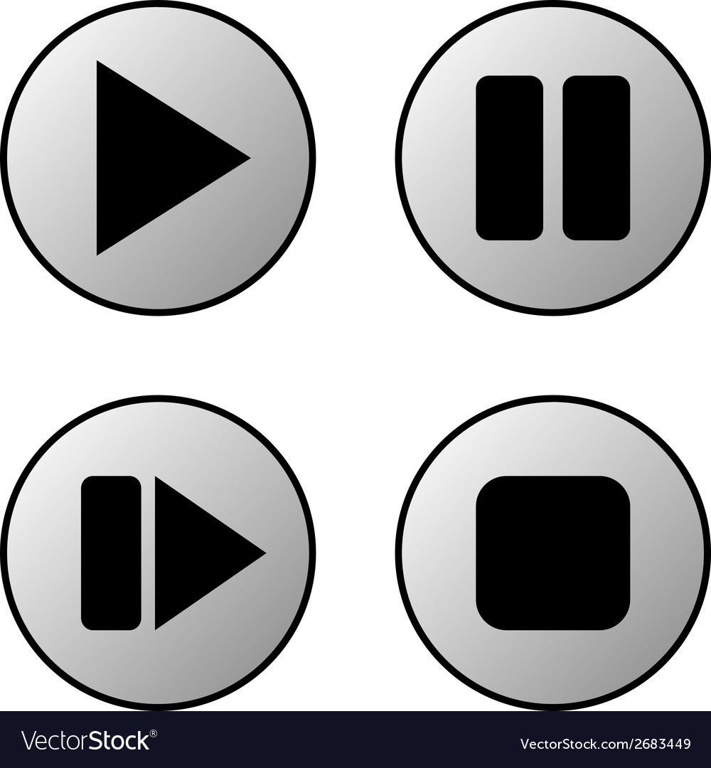 Play pause stop forward buttons set vector | Price: 1 Credit (USD $1)