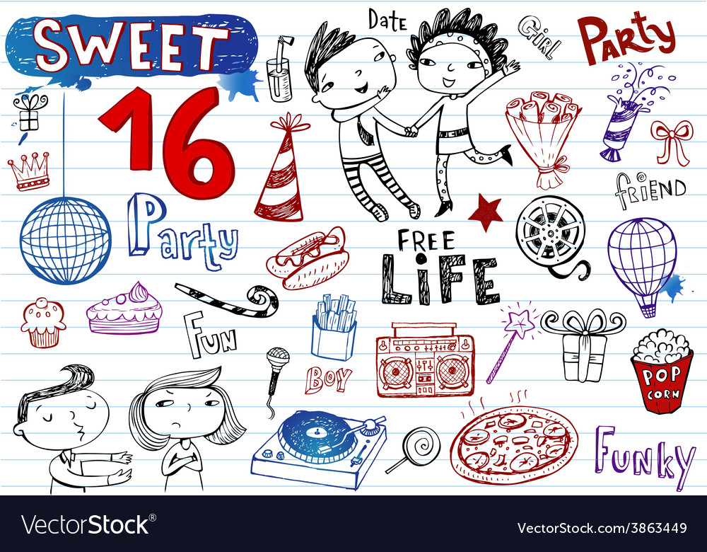 Sweet 16 party doodle set vector | Price: 1 Credit (USD $1)