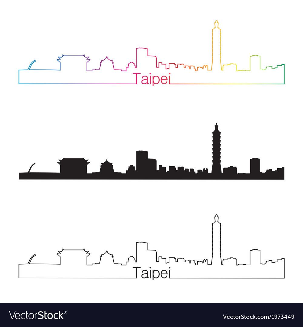Taipei skyline linear style with rainbow vector | Price: 1 Credit (USD $1)