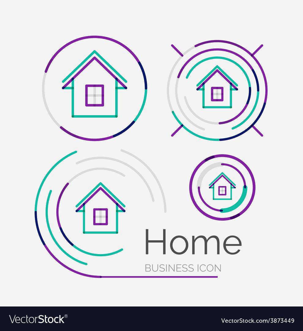 Thin line neat design logo set home idea vector   Price: 1 Credit (USD $1)