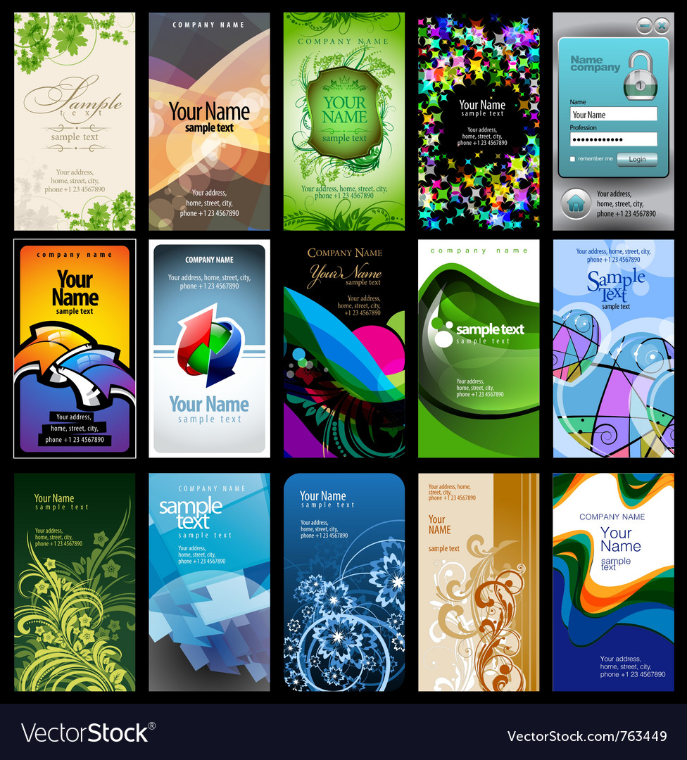 Variety of 15 vertical business cards vector | Price: 3 Credit (USD $3)