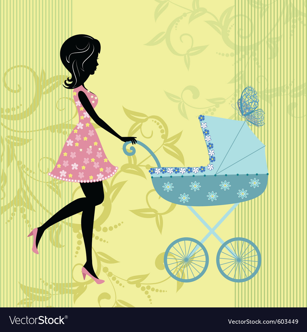 Woman with a pram vector | Price: 1 Credit (USD $1)