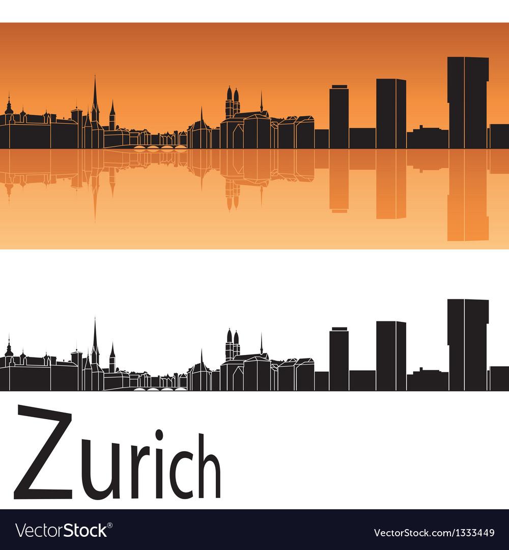 Zurich skyline in orange background vector | Price: 1 Credit (USD $1)