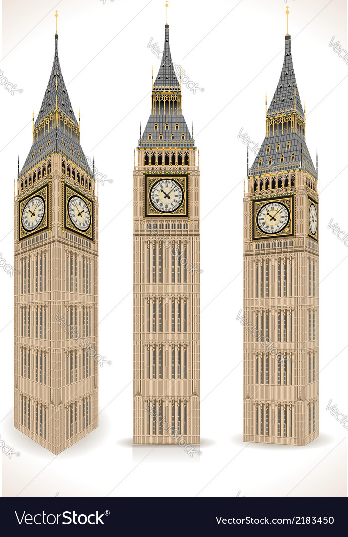 Big ben tower isolated on white vector | Price: 1 Credit (USD $1)