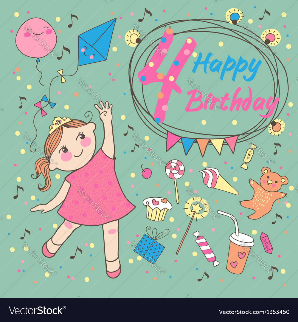 Birthday of the little girl 4 years vector | Price: 3 Credit (USD $3)