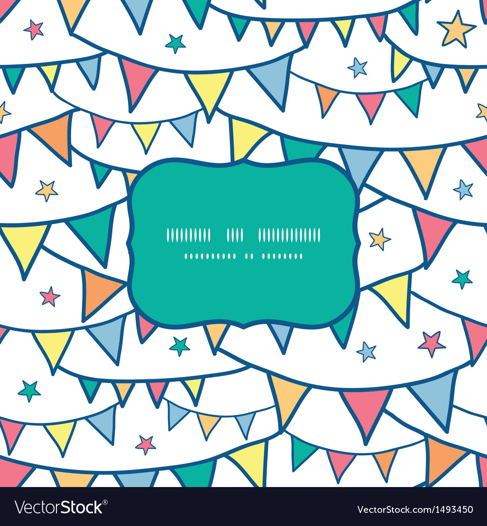 Colorful doodle bunting flags frame seamless vector | Price: 1 Credit (USD $1)
