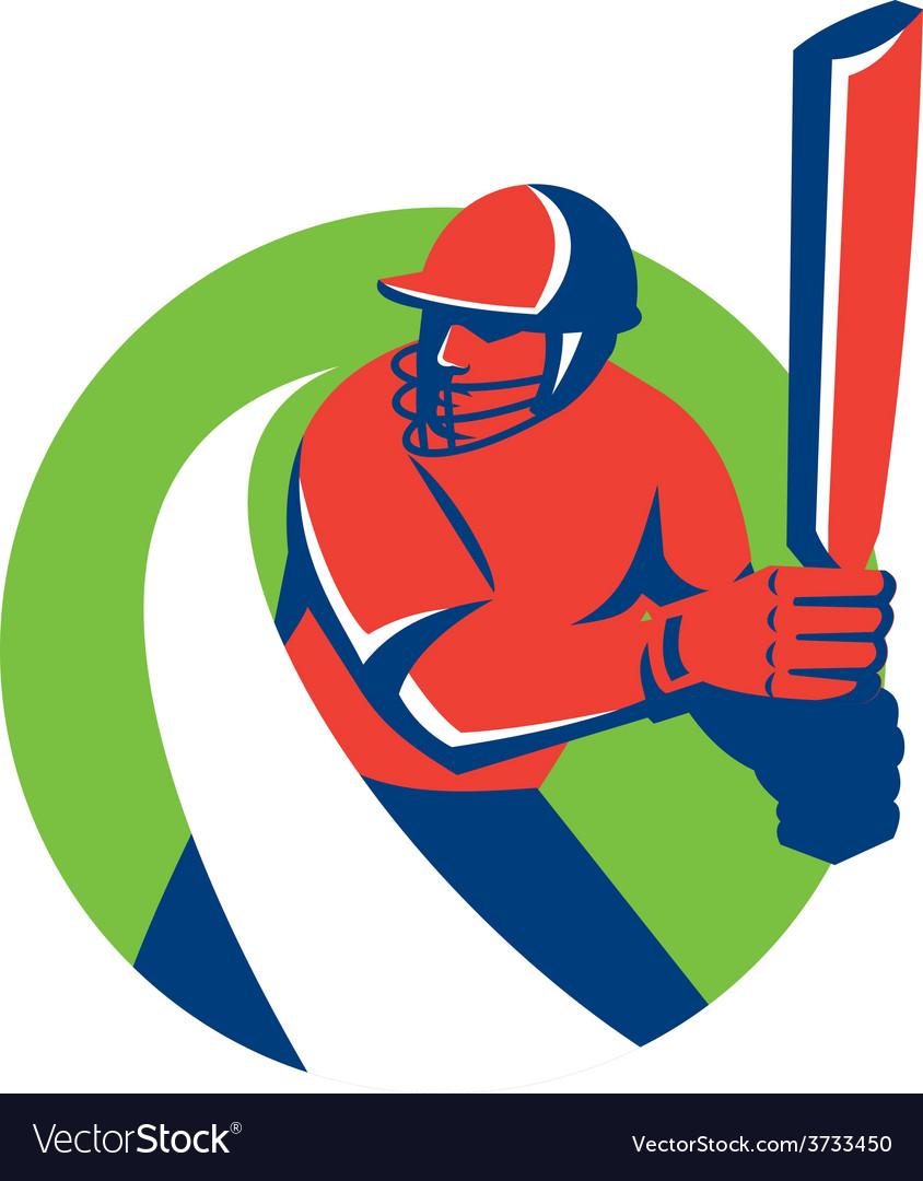 Cricket player batsman batting retro vector | Price: 1 Credit (USD $1)
