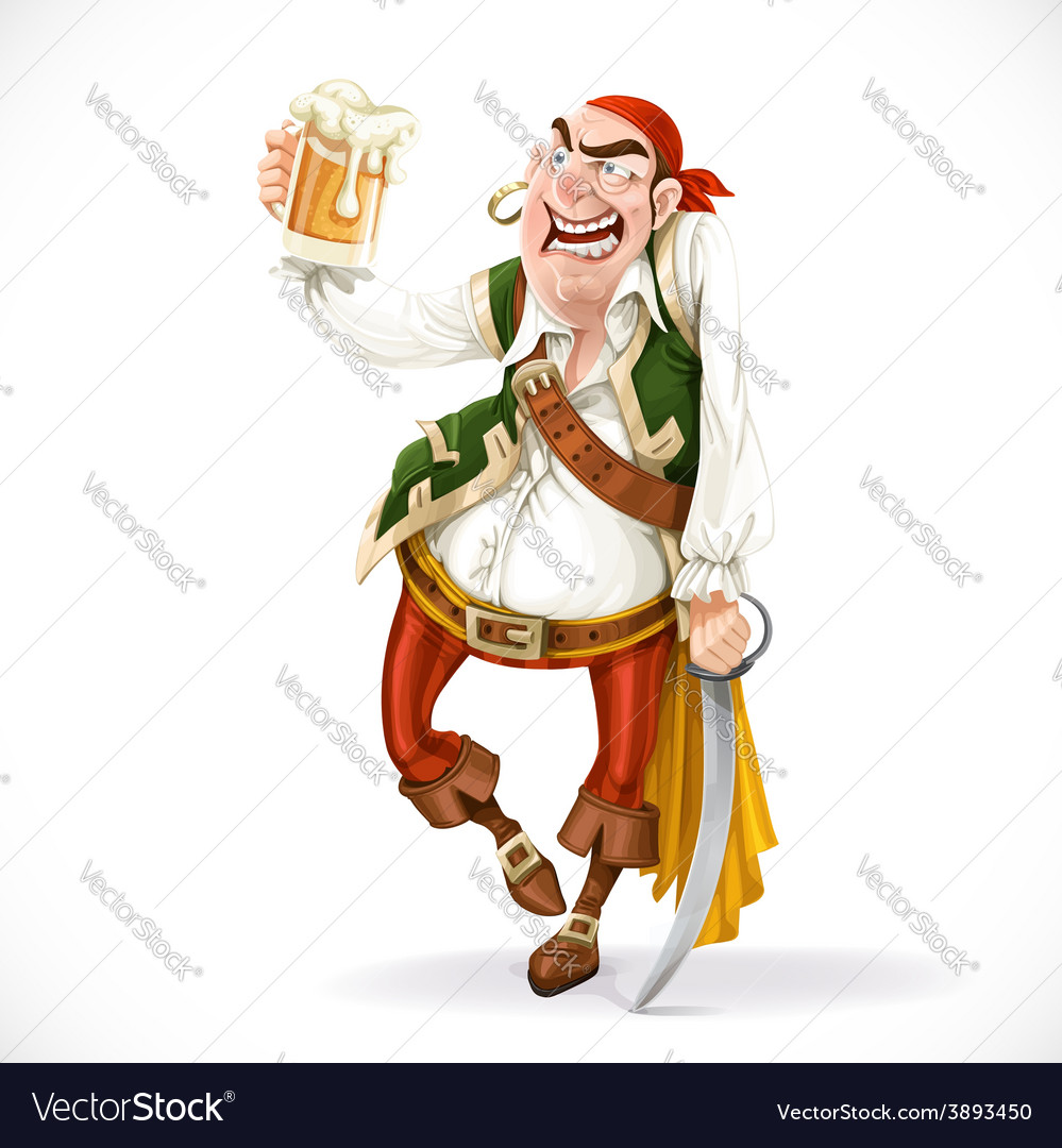 Drunken pirate with a glass of beer is based on vector | Price: 3 Credit (USD $3)