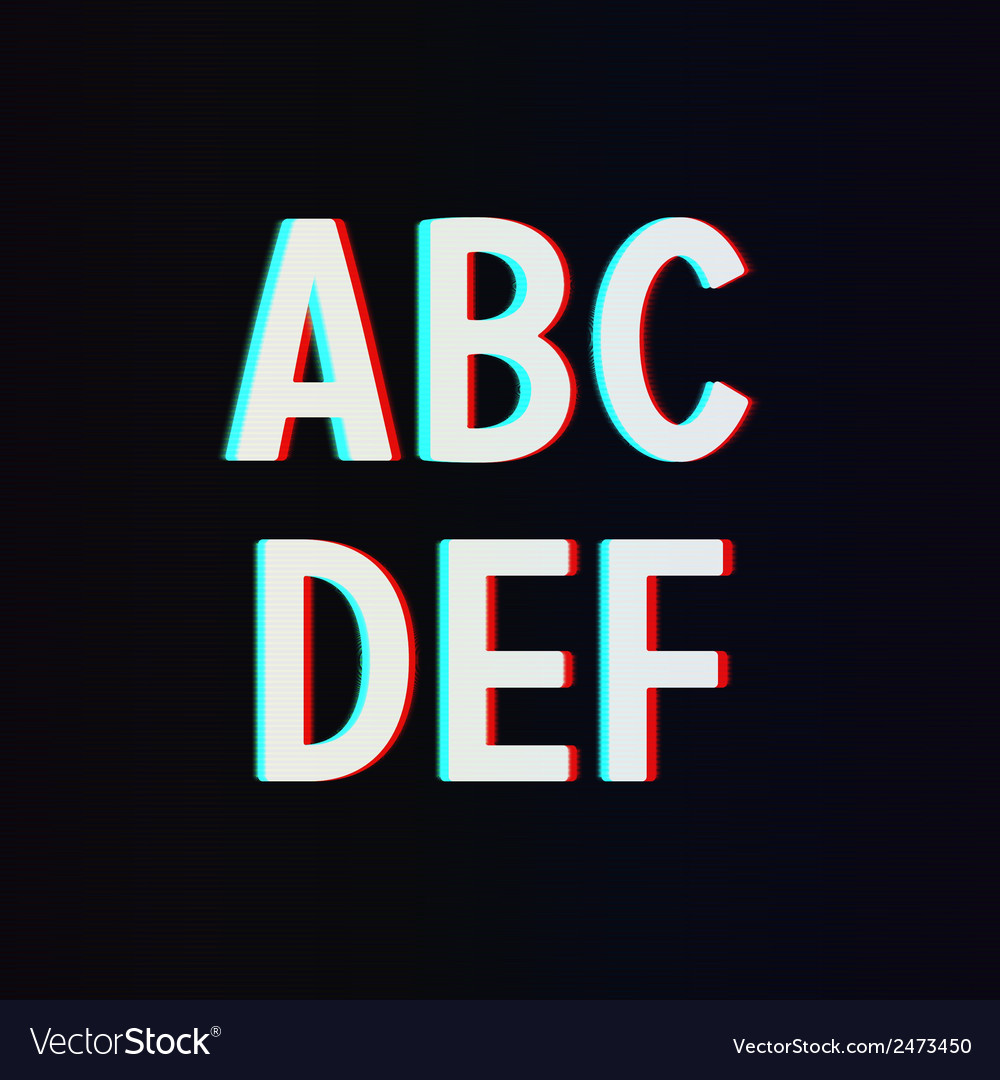 Font with tv stereo effect from a to f vector | Price: 1 Credit (USD $1)