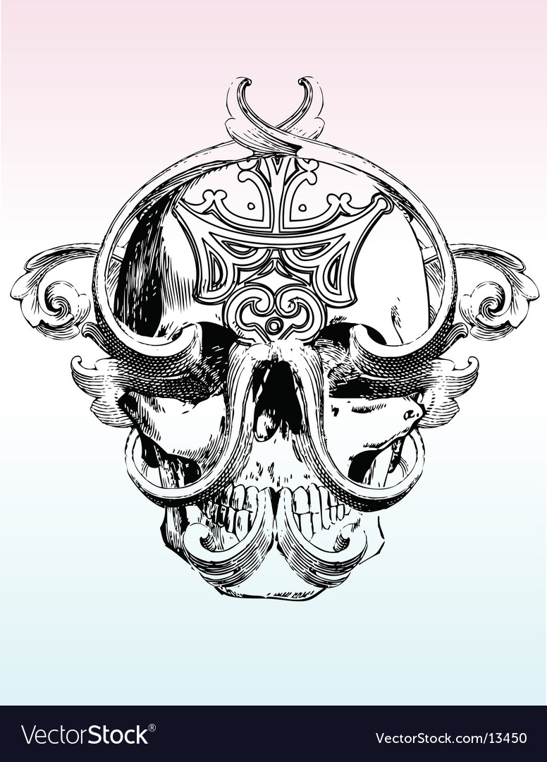Grunge skull illustration vector | Price: 1 Credit (USD $1)