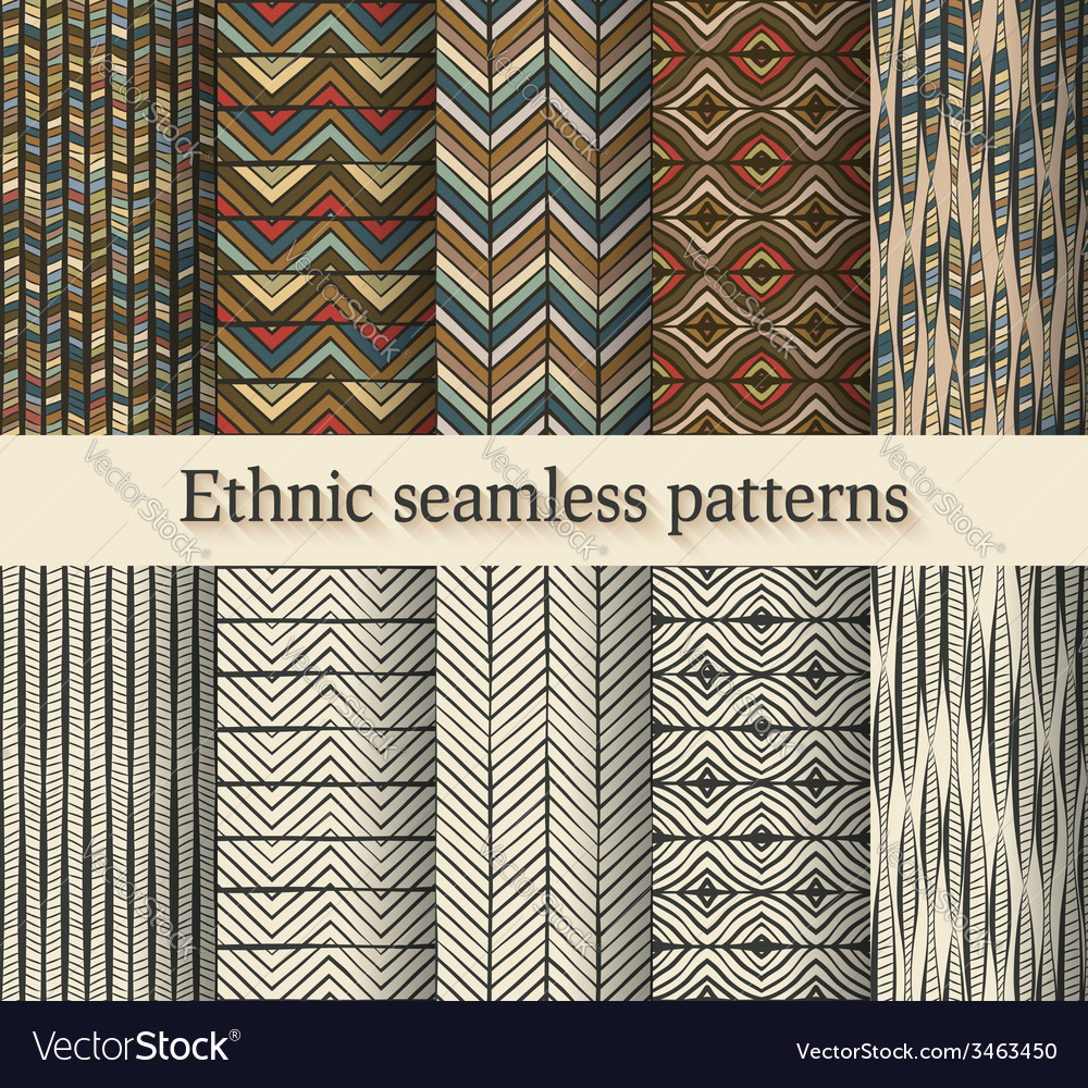 Hand drawing ethnic seamless patterns set vector | Price: 1 Credit (USD $1)