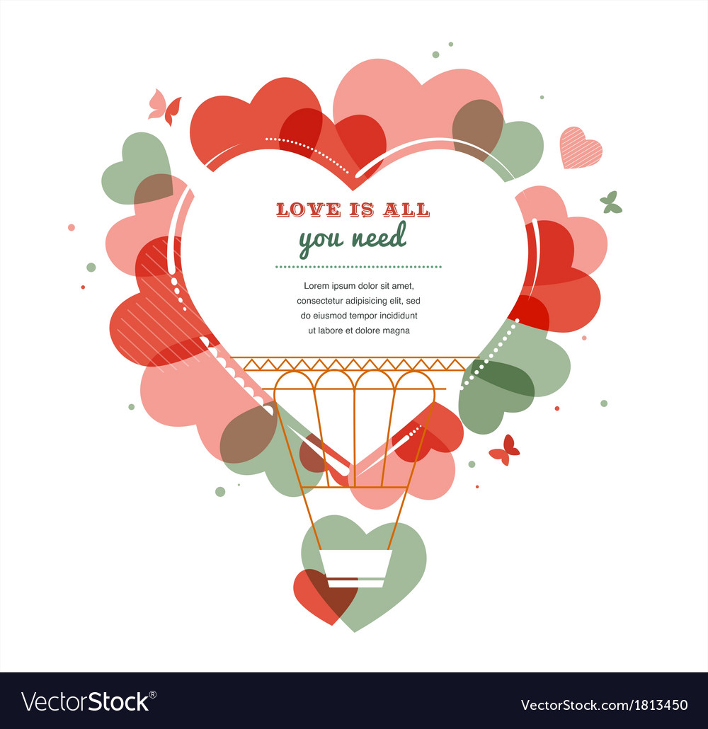 Love background - heart shape hot air balloon vector | Price: 1 Credit (USD $1)