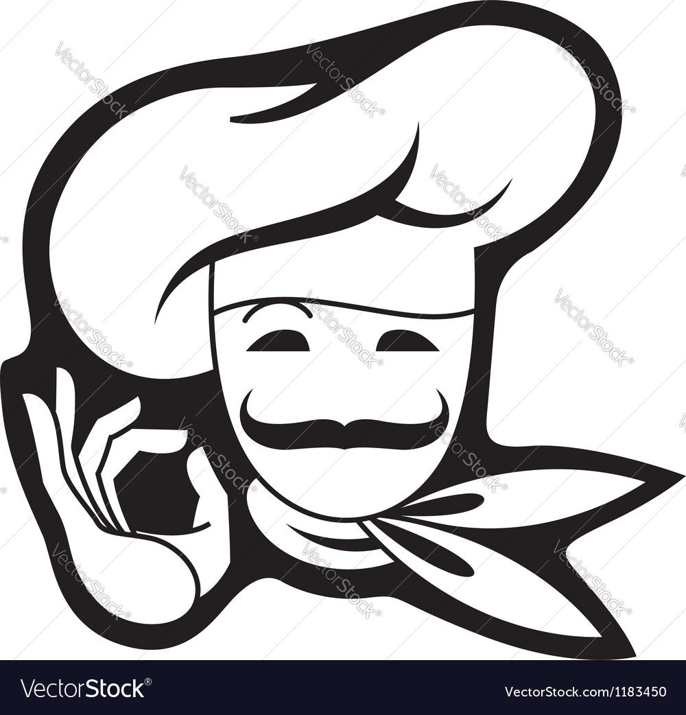 Mustachioed chef vector | Price: 1 Credit (USD $1)