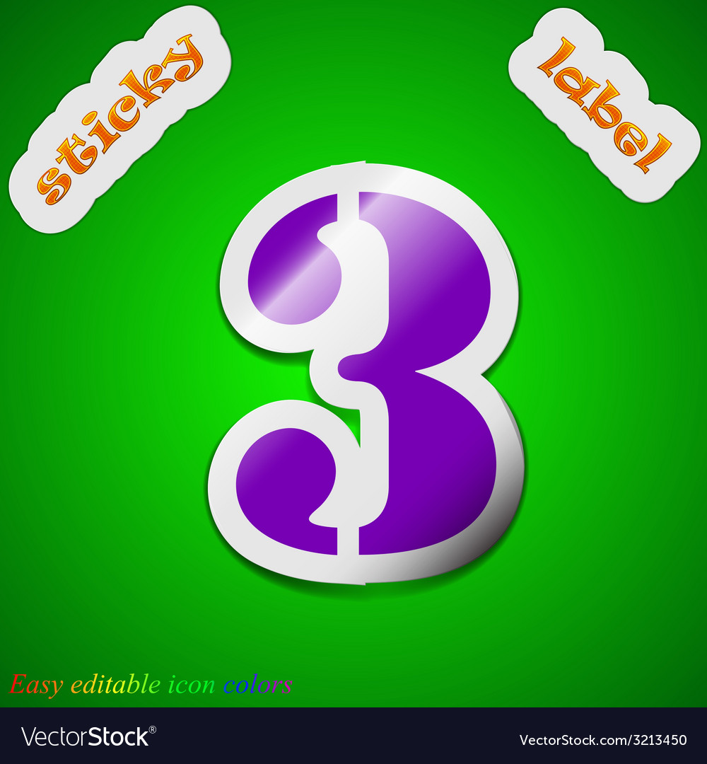 Number three icon sign symbol chic colored sticky vector | Price: 1 Credit (USD $1)