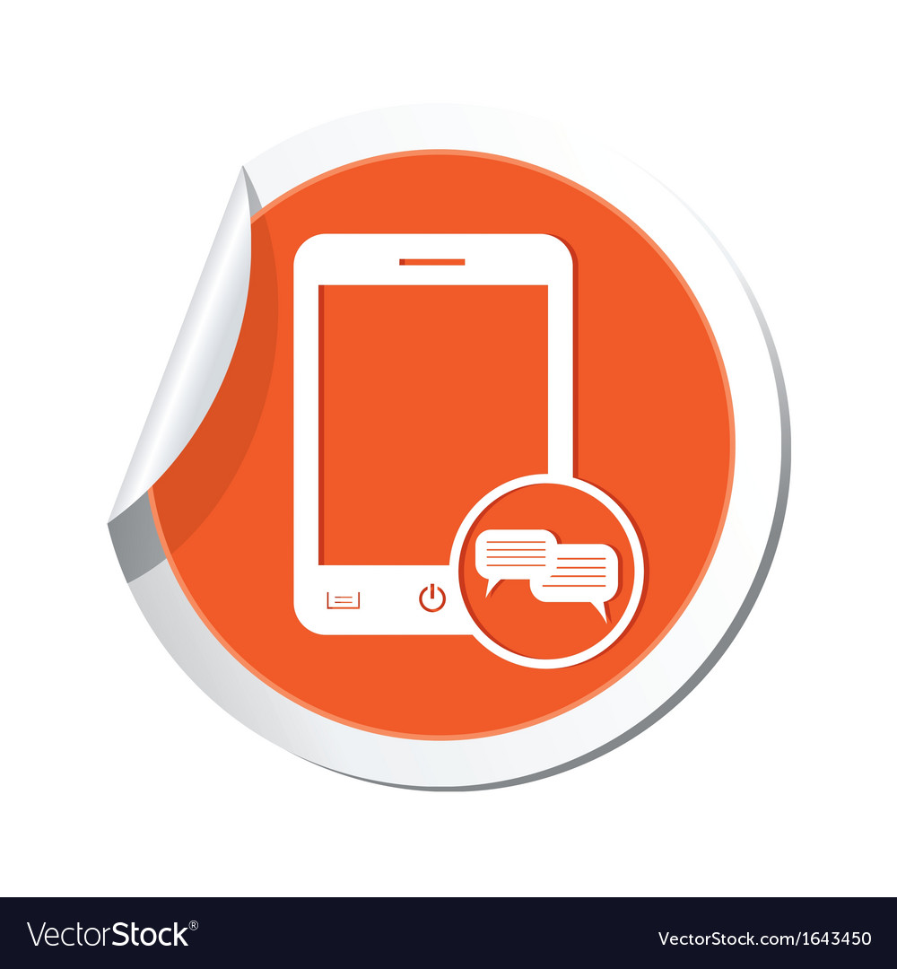 Phone chat icon orange sticker vector | Price: 1 Credit (USD $1)