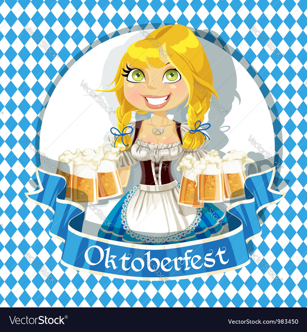 Pretty blond with a glass of beer banner vector | Price: 5 Credit (USD $5)