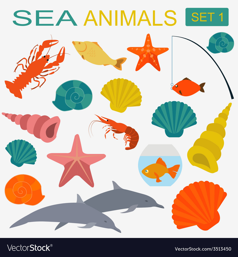 Sea animals icon vector | Price: 1 Credit (USD $1)