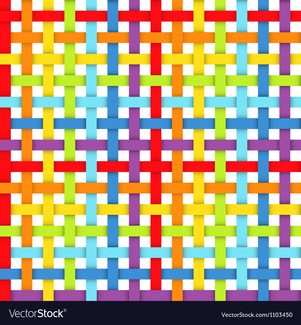 Seamless pattern with intersecting rainbow ribbons vector | Price: 1 Credit (USD $1)