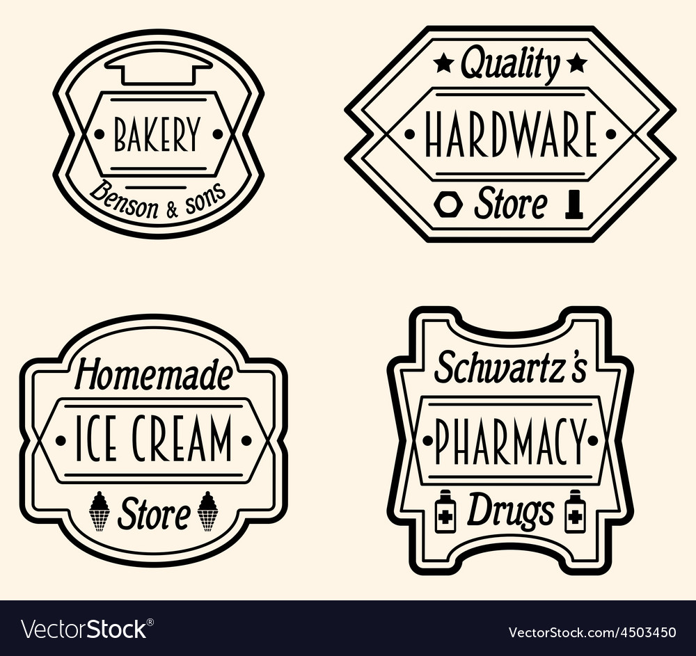 Set of vintage badge or logo design elements vector | Price: 1 Credit (USD $1)