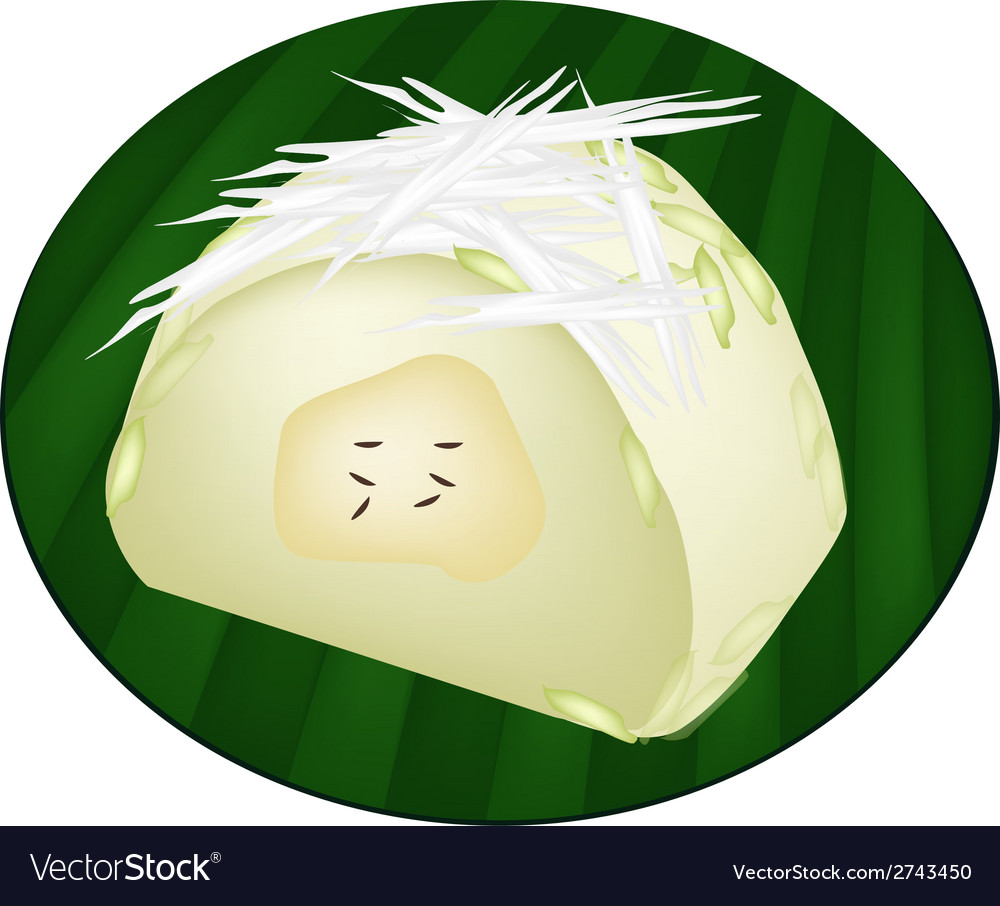 Thai steamed sticky rice with ripe banana vector | Price: 1 Credit (USD $1)